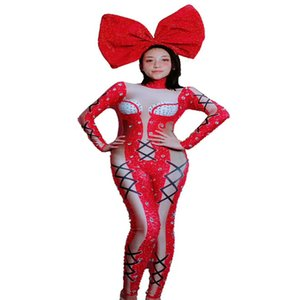 2019 donne costume nuovo Natale rosso sexy tuta 3D stampato lucido Strass Outfit Visualizza Performance Group Outfit tuta