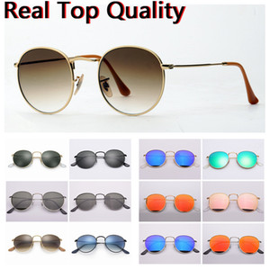 moda óculos de sol lentes redondas de metal de vidro verdadeira UV óculos de sol vêm com livre originais estojo de couro, pano, caixa, acessórios, código de barras