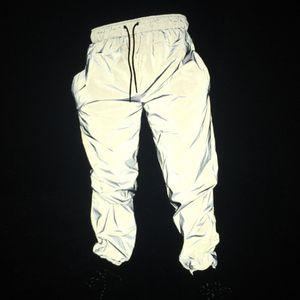 Winter Night Run Reflective Pants Original Couple Double Elastic Waist Tie Small Leg Pants Jogging Pants