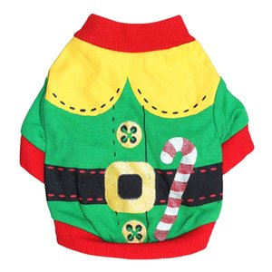Green Border Dog Cat Winter Clothes Warm Knitted Sweater for Dog Christmas Wrap Coat Dress (green , red border, S)