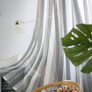 Gray Linen Stripe Tulle Curtains For Living Room Bedroom Window Sheer Curtains Modern Voile Curtains Fabrics