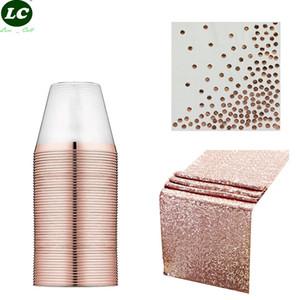 Toalha de papel toalha de mesa descartáveis Partido Louça festa de aniversário nove onças descartáveis Cups Transparente Estampagem Tabela copo de jantar