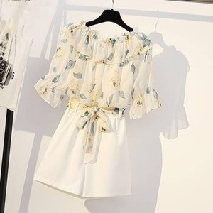 New Summer Women Tracksuit Clothes Female Floral Print Tops And Shorts 2 Piece Set Ladies Casual Vintage Slim Suits Outfits F165 T200325