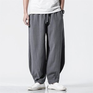 M-7XL Plus Size Men Wide Leg Pants Japanese Style Casual Cotton Linen Trouser Man Loose Jogger Pants Chinese Baggy