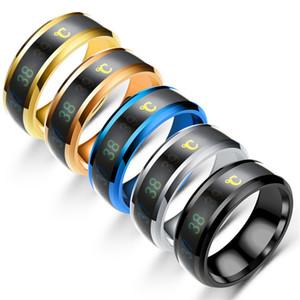 Нержавеющая сталь термочувствительный кольцо Mood Ring Обручальные кольца Ленточные женщины мужские кольца Мода ювелирные изделия и песчаное подарок