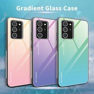 samsung galaxy s20 plus case gradient glass+TPU samsung Note 20 20Ultra phone case colorful anti-scratch S10 Note 10 iphone 12 case