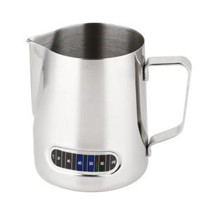 Çay Bardağı Süt Frothing Sürahi Termometre Ile Paslanmaz Çelik 600 ml Kahve Frothing Sürahi Ev Mutfak Süt Fincan