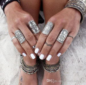 Silver Plated Ring For Women Men Fashion Bohemian Beautifully Ethnic Vintage Unique Carving Tibetan Totem Trendy Beach Jewelry Silver Rings