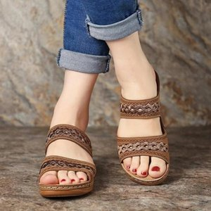 2020 New Women Wedge Sandals Gladiator Bohemia shoes Flip Flop Casual Platform Slides Open Toe Vintage Anti-slip Beach Shoes 46