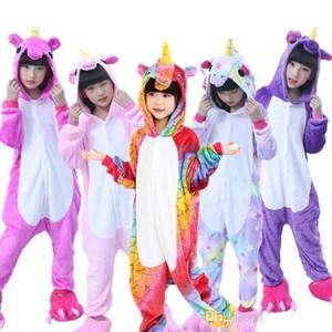 Crianças Pijamas Kigurumi para meninos das meninas do unicórnio pijama de flanela Crianças Pijamas Set animal Crianças Pijamas Inverno pijama set1-9T