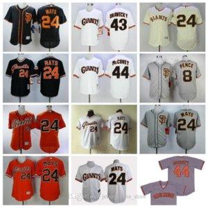 San Francisco Giants Baseball Jersey 8 Hunter Pence Jersey 24 Willie Mays 43 Dave Dravecky 44 Willie McCovey Pull Vintage