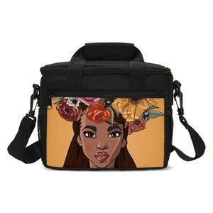 Малый Lunch Bag Моды Цветочного Black Art Африканский девушка 3D печать мешок лед Изолированного Тепловой Пикник Закуска сумка Sac A Главный