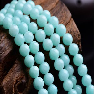 Free Shipping Natural Stone Aqua Amazonite Round Loose Beads 39cm Strand 4 6 8 10 12 MM Pick Size For Jewelry Making No.SAB16