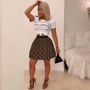 Frauen Designer Faltenrock Marke Print Minirock mit hohen Taille über Knie-Kleid kurzen Rock-Partei-Verein-Kleider Mode Röcke Kleidung S-XL