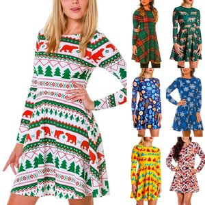 2020 European and American Cross-Border Popular Autumn and Winter New Christmas Clothing Printed Long-Sleeved Womens Dress