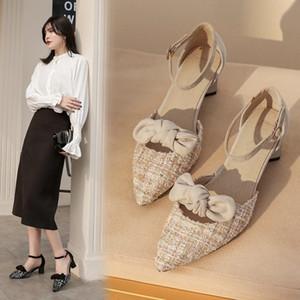 Scarpe a punta Sandali estate femminile sexy Baotou sandali Thin Tacchi parte ha le dita dei piedi di slittamento su Office abito Ladie scarpe Plus Size