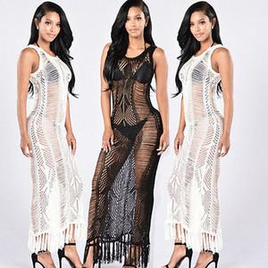 New sexy Women Beach Dress sleeveless cover ups Swimwear Lace Chiffon Crochet Bikini Bathing Suit beachwear Cover Up