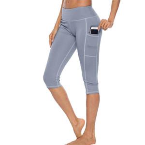 Calças SFIT workout Capri aptidão leggings com bolso lateral de cintura alta Correndo Yoga Pants Sportwear Legging Esporte Femme