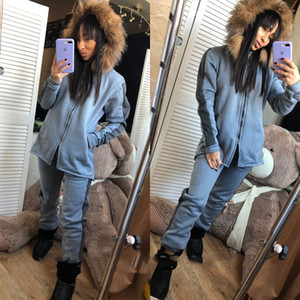 New Women Patchwork Two Piece Sets Long Sleeve Zipper Hooded Jacket Coat Top and Pants Women Spring Autumn Casual Sets Sports Tracksuit A344