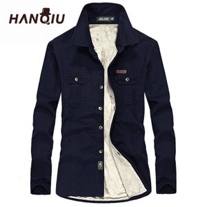 Quente HANQIU inverno camisetas homens longos Mouw herfst Homens Winter Jas Flanellen Grosso Jurk Shirts A camisa dos homens do velo de Qualidade Moda