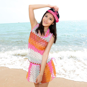La nueva versión coreana de las mujeres traje de baño con senos grandes y pequeños y soportes de acero traje de baño conservador de primavera de cuatro piezas en caliente bikini 1420