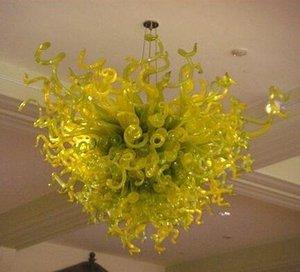 El Yeşil Cam Avize Aydınlatma Kalp Shape Sanat Kolye Işık Murano cam kolye Işık ile LED Ampüller