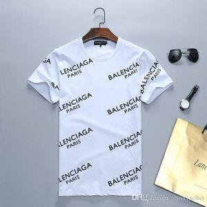 2019 Rampo / Rampo homens de manga curta T-shirt branca tarja top bottom camisa em torno do pescoço metade do T-shirt de manga comprida roupas da moda PO023