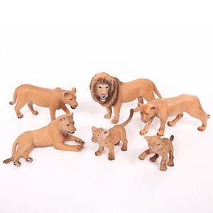 6pcs / set Aslan Ailesi modelleri simülasyon hayvan modeli Oyuncak Action Figure Bebek Biblo süslemeleri ev Bahçe Koleksiyonu İçin Çocuk Hediye T200413