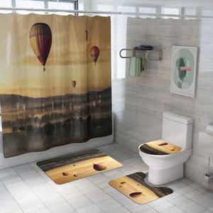 Jaune foncé romantique Hot Air Balloon 3D Imprimé imperméable rideau de douche toilettes Couverture Mat Set de bain Décoration avec 12 crochets
