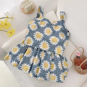 Girls summer outfits 2020 kids daisy printed tank tops+single-breasted pleated skirt 2pcs children flowers princess sets A3006