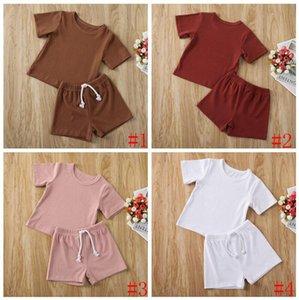 Baby Designer Kleidung Kinder Jungen Solid Artikel Grube Kleidung Sets Sommer Kurzarm Top Shorts Anzüge Infant T-Shirt Hosen Outfits AYP623
