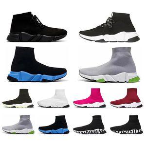 Balencaiga erkekler kadınlar için Siyah Beyaz Yeşil Pinks Gri Casual ayakkabı yukarı dantel ile Hız Traniers Yeni Gelenler Temizle Sole ağırlık Çorap Ayakkabı