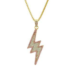 Хип-хоп молния золото / серебристый цвет кубинская цепь кулон ожерелье мода полный Алмаз ледяной кулон ожерелье в Европе и Америке