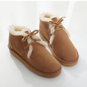 mulher de alta qualidade natureza lã Austrália vaias neve 100% couro genuiner inverno curto de pele de carneiro sapatos impermeáveis grande tamanho 35-43