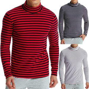 Camisetas para hombre manga larga para rendir color camisetas rayó con paneles Natural camisetas collar de pie casual