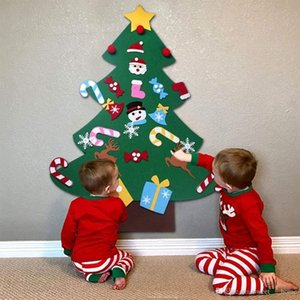 DIY Felt Christmas Tree New Year Gifts Kids Toys Artificial Tree Wall Hanging Ornaments Christmas Decoration for Home DHL