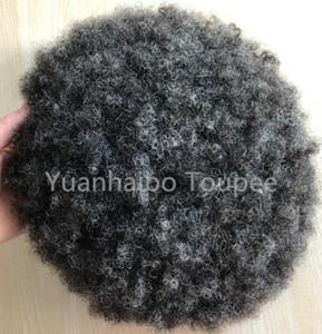 Hombres Postizos afro del pelo del cordón Bisoñes completa # 1b reemplazo gris para hombre indio Virgen del pelo humano Toupee del pelo para los hombres Negro envío