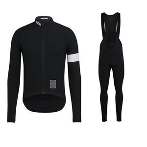 Rapha equipe de ciclismo de longa camisola mangas (bib) `s dos conjuntos mens secagem rápida ropa ciclismo roupas MTB desgaste corridas q1008