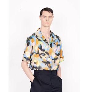 19FW Paris Özet Çiçek Baskı Kısa Sleeve Gömlek Siyah Kısa Sleeve Gömlek Moda Sandy Beach Tee Günlük Sade Erkekler Kadınlar HFHLCS024