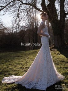 High Quality Mermaid White Lace Wedding Dresses Sleeveless Deep V-neck Chapel Train Inbal Dror Gaeden Open Back Wedding Gowns Bridal