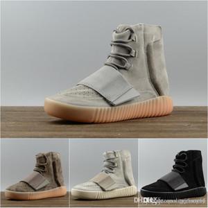 2018 zapatos corrientes 750 gris claro brillan en la oscuridad Kanye West cuero de los hombres y las mujeres del deporte del envío gratis
