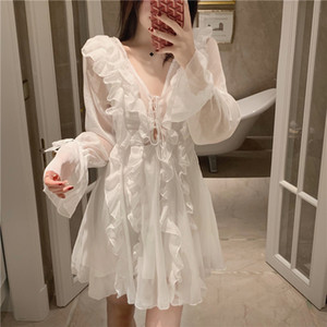 White Holidays Fairy V-neck Ruffles Chiffon Dress Slimming Lace Up Long Flare Sleeve Pleated Gauze Perspective Party Dress