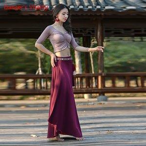 Plus Size Women Dance Wear Girls Belly Dance Costume Long Skirt V-neck Top Elastic Sparkles Set Top & Skirt