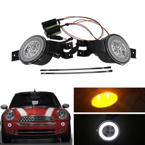 E4 R87 Clear Lens Full Led DRL Halo Amber Turn Kits Signal Light Assembly для Mini Cooper Convertible R50 R52 R53 Car-Styling