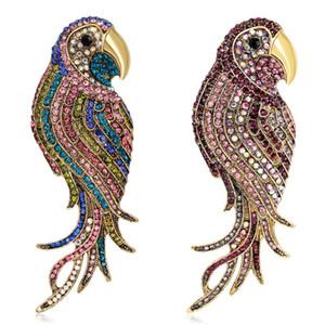 Bunte Papageien Broschen Strass Tier Badge Kleidung Rucksack Pins Mode Kleid-Mantel-Zubehör nette Schmuck