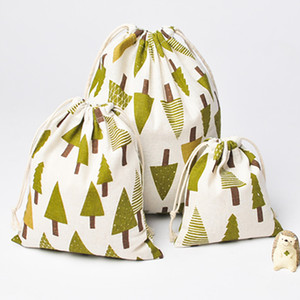 선물 캔디 XMAS 장식 HH7-1297를 들어 크리스마스 눈 소나무와 DHL 크리스마스 트리 선물 가방 순수한 리넨 코튼 캔버스 졸라 매는 끈 자루 가방