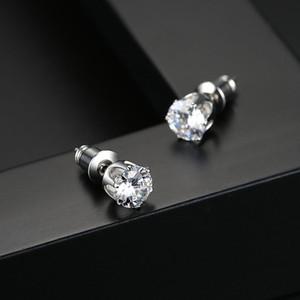 5мм Single Алмазный камень S925 Sterling иглы серьги стержня платиновым покрытием серьги оптовой продажи ювелирных изделий