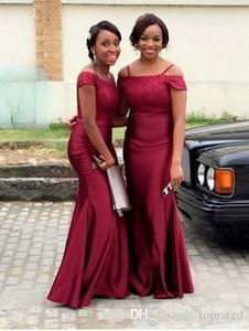 African Arabic Burgundy Mermaid Bridesmaid Dresses 2020 Off the Shoulder Lace Top Satin Maid Of Honor Gowns Wedding Guest Party Wear