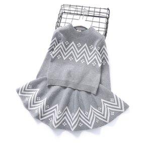 فتاة ملابس وقت الفراغ للأطفال جو كم رئيس الكشمير سترة الأطفال الخارجية الحياكة التنورة القصيرة الإنجليزية اثنان من قطعة 0205