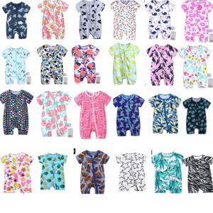Neugeborenes Baby Reißverschluss Strampler Sommer Kurzarm Jungen Mädchen Dinosaurier Overall Outfits Kleidung Kurzarm Baby Strampler 40 Design KKA6905
